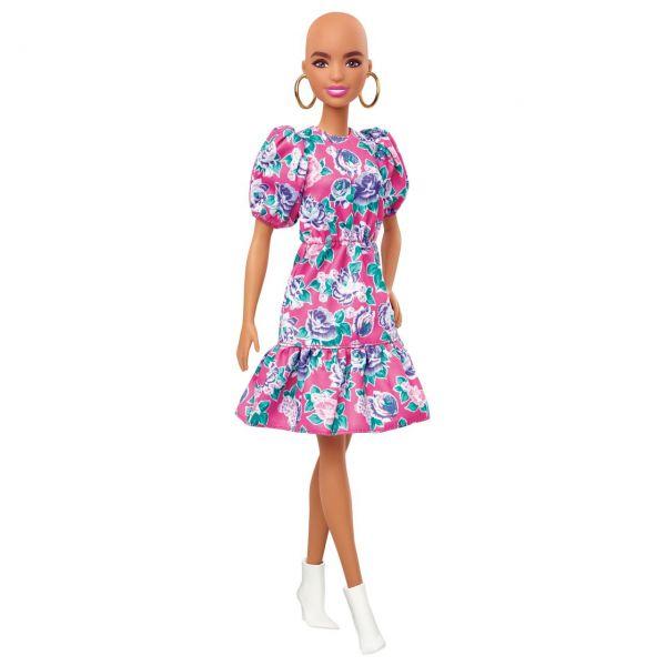 MATTEL GHW64 - Barbie - Fashionistas Puppe (Glatze) mit Blumenkleid