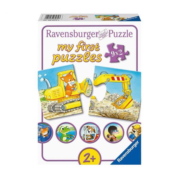 RAVENSBURGER 03074 - Puzzle - Tierische Baustelle, 9x2 Teile