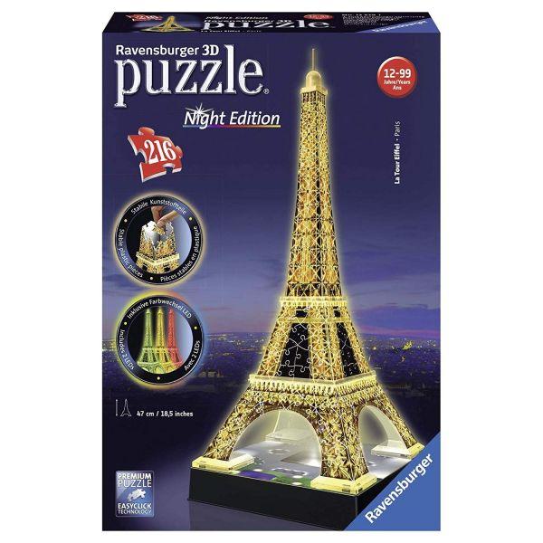 RAVENSBURGER 125791 - 3D Puzzle - Eiffelturm bei Nacht Puzzle, 216 Teile