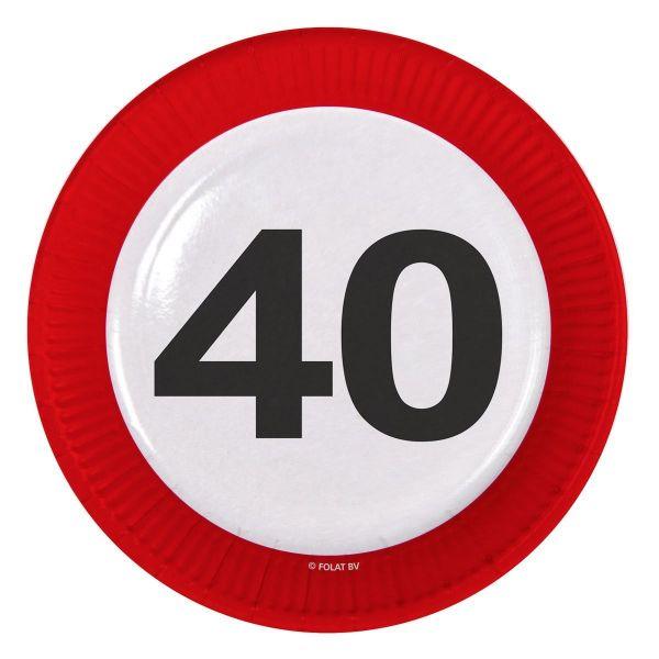 FOLAT 28140 - Geburtstag & Party - 40 Jahre Verkehrsschild Pappteller, 23 cm