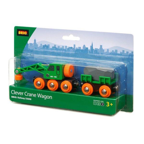 BRIO 33698 - Bahn - Grüner Kranwagen mit Anhänger und Fracht