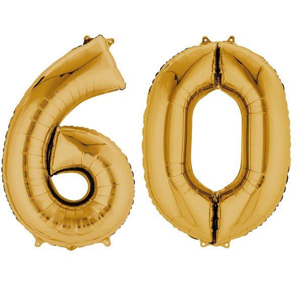 AMSCAN 33875 - Folienballon - Zahl 60, gold, 90cm