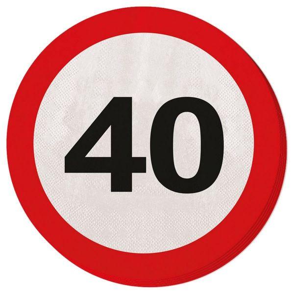 FOLAT 28340 - Geburtstag & Party - 40 Jahre Verkehrsschild Servietten, 20 Stk.