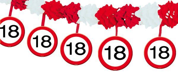 FOLAT 05217 - Geburtstag & Party - 18 Jahre Verkehrsschild Girlande, 4 m