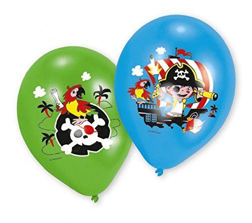 AMSCAN 9902174 - Geburtstag & Party - Piraten Latex Luftballons, 6 Stk