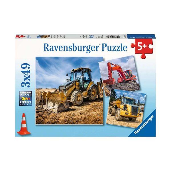 RAVENSBURGER 05032 - Puzzle - Baufahrzeuge im Einsatz, 3x49 Teile