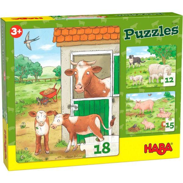 HABA 305884 - Puzzle - Bauernhoftiere, 3er Set