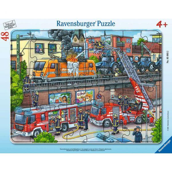 RAVENSBURGER 05093 - Puzzle - Feuerwehreinsatz an den Bahngleisen, 48 Teile