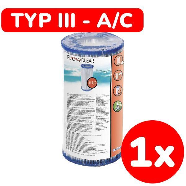 BESTWAY 58012 - Poolzubehör - Filterkartusche (Größe 3), 10,6x20,3cm