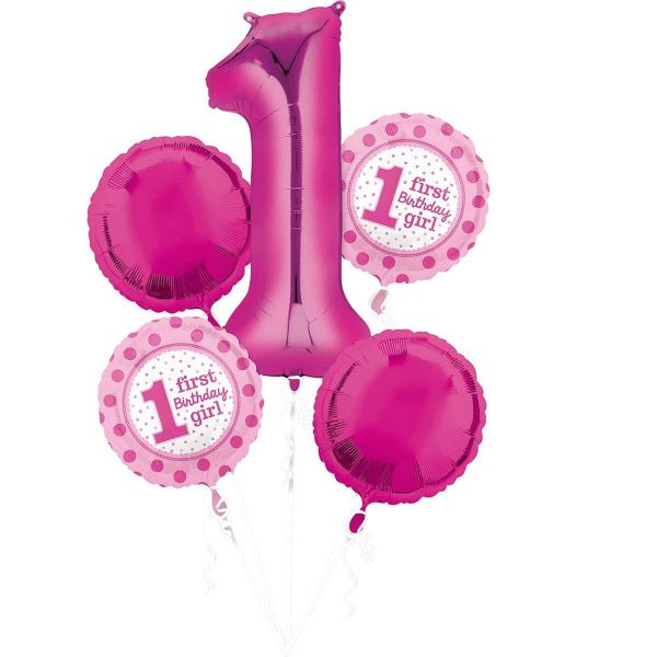 AMSCAN 32542 - Geburtstag & Party - Folienballon Set 1st Birthday girl