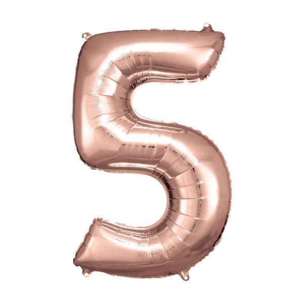 RM 9906280 - Folienballon SuperShape - Zahl 5, rosé gold, 55x83cm