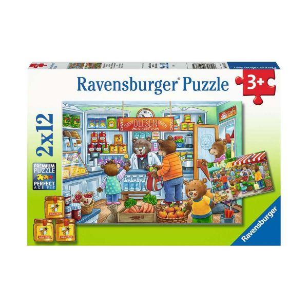 RAVENSBURGER 05076 - Puzzle - Komm wir gehen einkaufen, 2x12 Teile