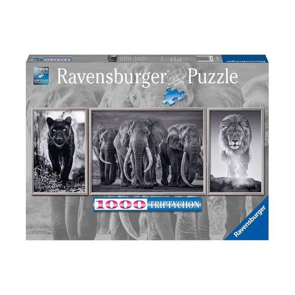 RAVENSBURGER 16729 - Puzzle - Panorama Panter, Elefanten, Löwe, 1000 Teile