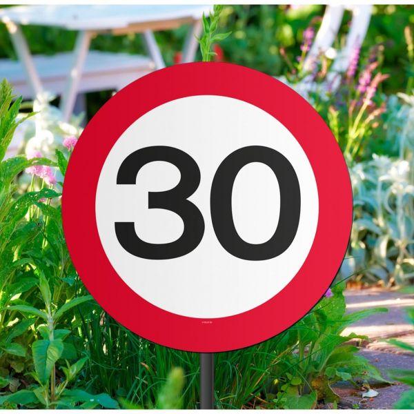 FOLAT 05029 - Geburtstag & Party - 30 Jahre Verkehrsschild Gartenschild, 26 cm
