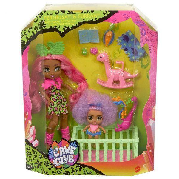 MATTEL GNL92 - Cave Club - Babysittingspaß Spielset mit Fernessa Puppe