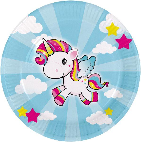 FOLAT 65040 - Geburtstag & Party - Einhorn Unicorn Papp-Teller, 8 Stk., 23 cm