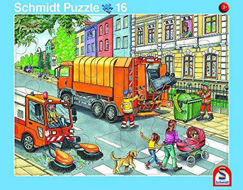 SCHMIDT 56791 - Rahmenpuzzle - Müllauto und Baustelle, 2er Set