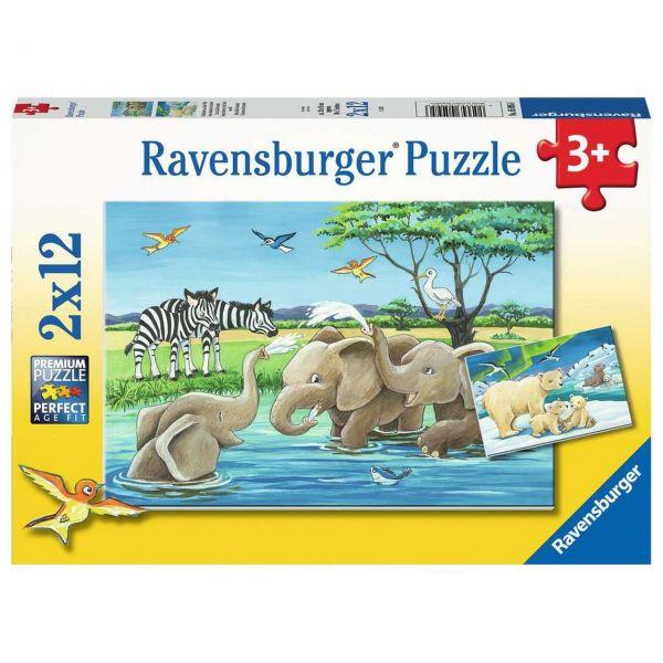 RAVENSBURGER 05095 - Puzzle - Tierkinder aus aller Welt, 2x12 Teile