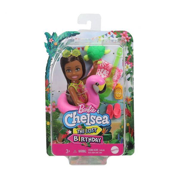 MATTEL GRT82 - Barbie - Chelsea Puppe The Lost Birthday mit Flamingo-Schwimmreifen