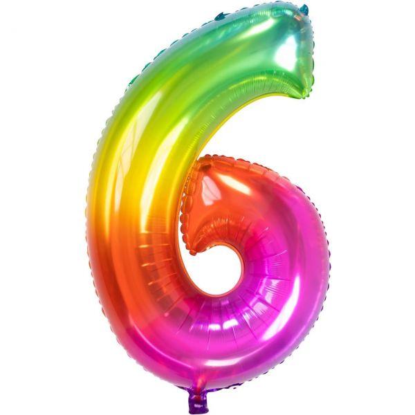 FOLAT 63426 - Folienballon - Zahl 6, Yummy Gummy, 86cm