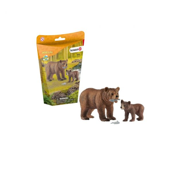 SCHLEICH 42473 - Wild Life - Grizzlybär-Mutter mit Jungem