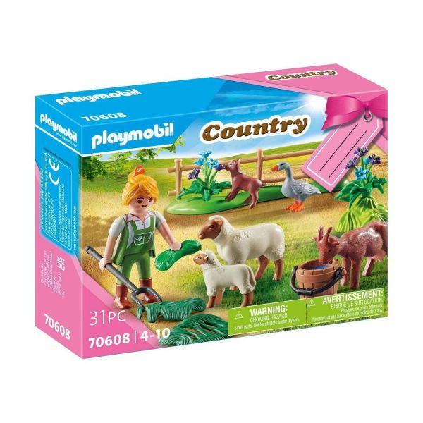 "PLAYMOBIL 70608 - Country - Geschenkset ""Bäuerin mit Weidetieren"""