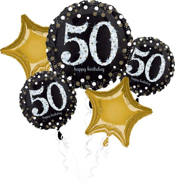 AMSCAN 3214501 - Sparkling Celebrations Gold, 50. Geburtstag - Folienballon-Set, 5-tlg.