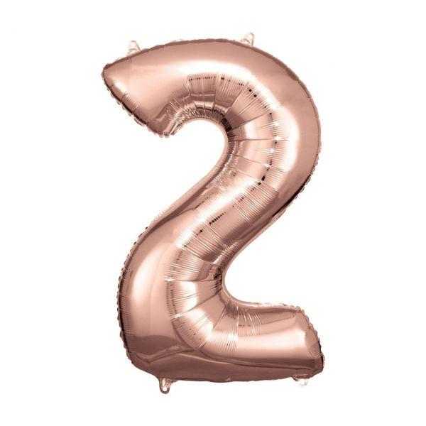 RM 9906277 - Folienballon SuperShape - Zahl 2, rosé gold, 53x86cm