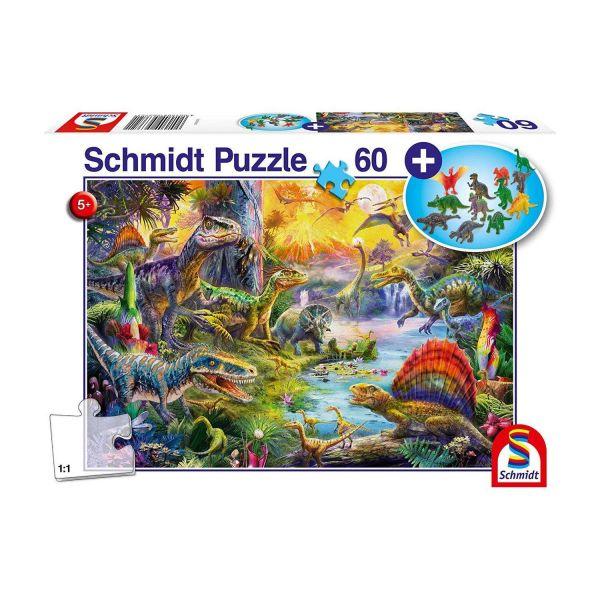 SCHMIDT 56372 - Puzzle - Dinosaurier, mit Dinosaurier-Figuren-Set, 60 Teile