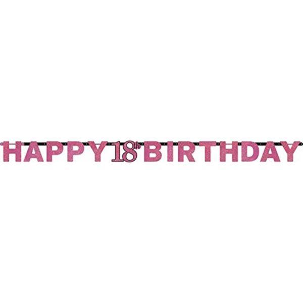 AMSCAN 9900576 - Sparkling Celebrations Pink, 18. Geburtstag - Partykette, 213x16,2 cm