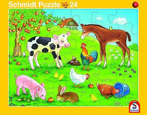 SCHMIDT 56789 - Rahmenpuzzle - Tierfreunde und Tierkinder, 2er Set