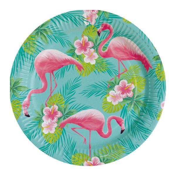 AMSCAN 828745 - Geburtstag & Party - Flamingo Paradise Papp-Teller, 8 Stk.