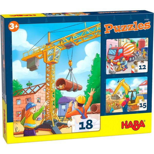HABA 305883 - Puzzle - Baustellenfahrzeuge, 3er Set