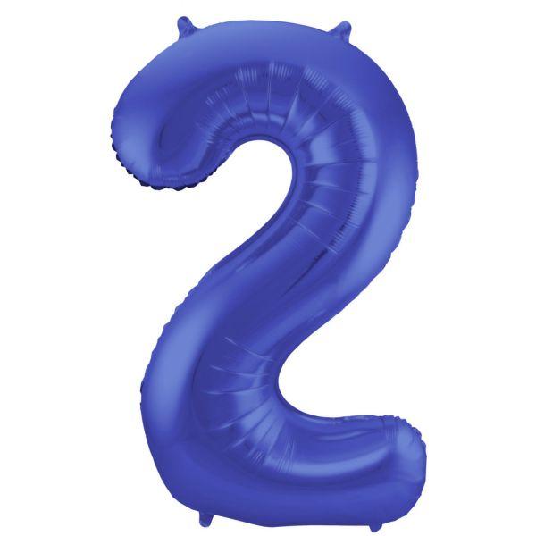 FOLAT 65922 - Folienballon - Zahl 2, Matte Blau, 86 cm