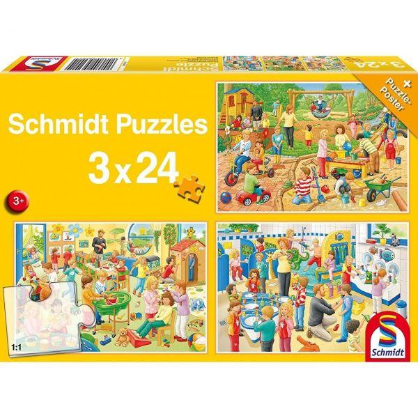 SCHMIDT 56201 - Puzzle - Ein Tag im Kindergarten, 3 x 24 Teile