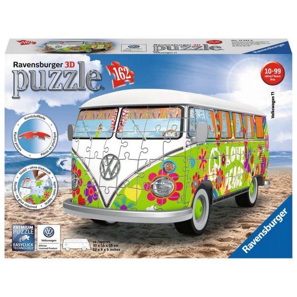 RAVENSBURGER 12532 - 3D Puzzle - Volkswagen T1, Hippie Style, 162 Teile