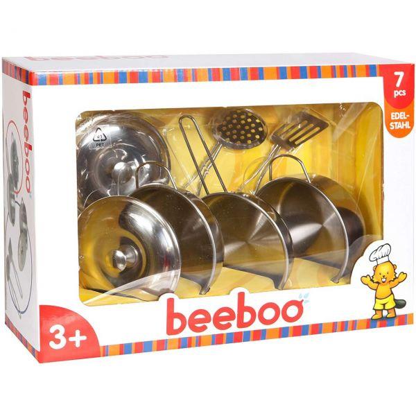 BEEBOO 47020981 - Spielküche - Edelstahltopf-Set, 7-teilig