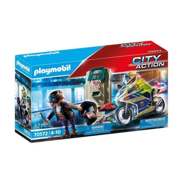 PLAYMOBIL 70572 - City Action - Polizei-Motorrad - Verfolgung des Geldräubers