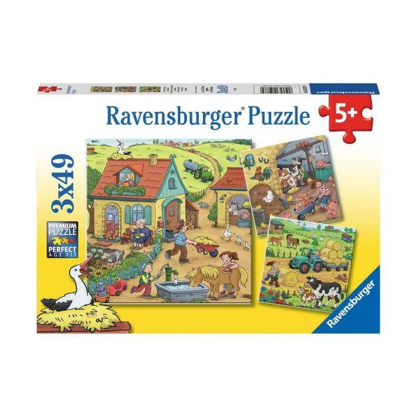 RAVENSBURGER 05078 - Puzzle - Viel los auf dem Bauernhof, 3x49 Teile